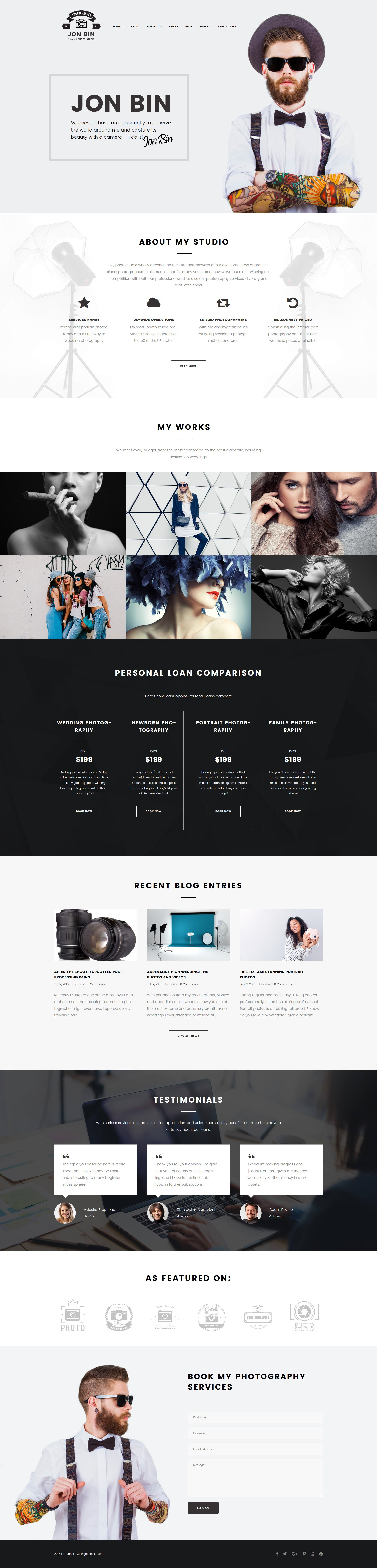 """One Page Freelancer Photographer Portfolio"" Responsive WordPress thema №63397"