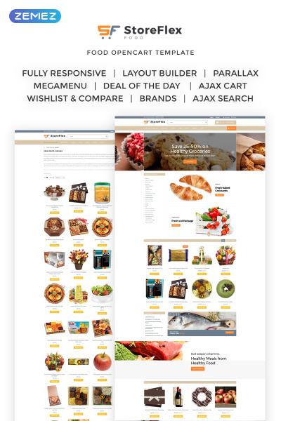 Responsive Plantilla OpenCart #63371 para Sitio de  para Tienda de Alimentos