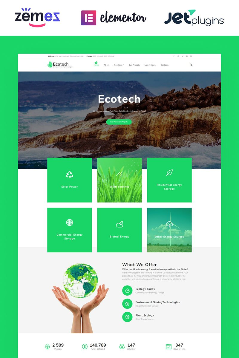 Responsivt EcoTech - Environment Saving Technologies Elementor WordPress-tema #63381