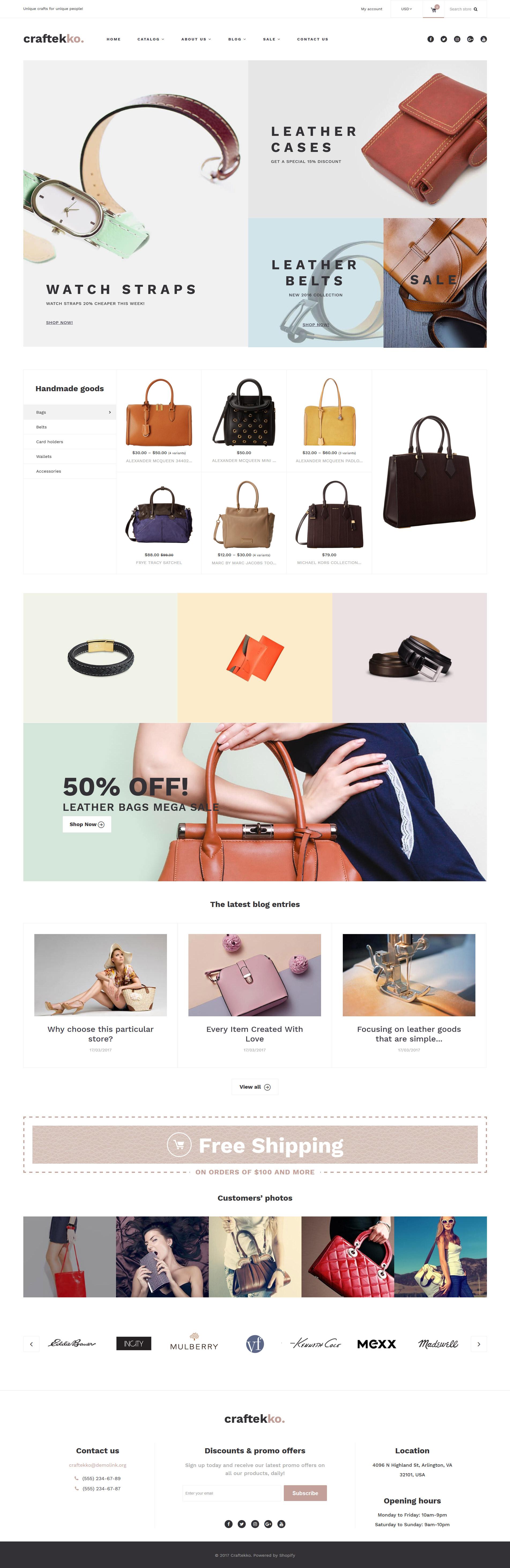 "Responzivní Shopify motiv ""Craftekko - Handbag Responsive"" #63378"