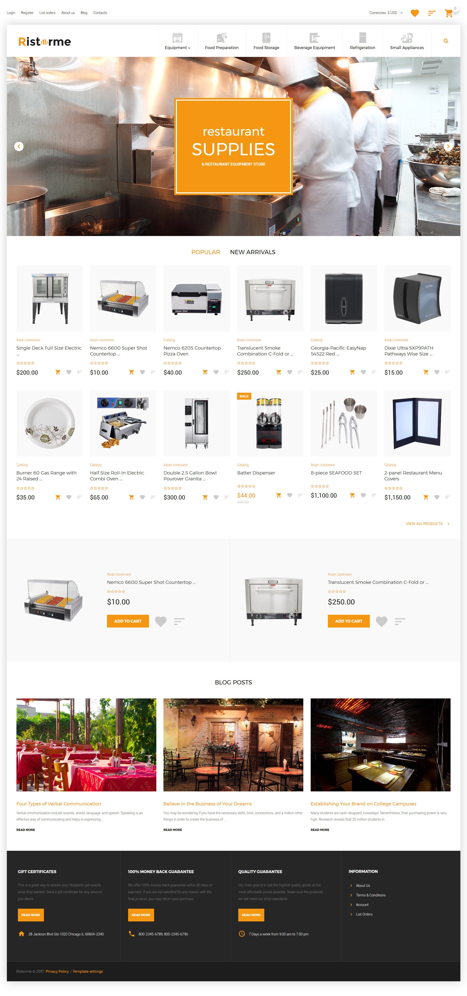 Restaurant Supplies VirtueMart Template - screenshot