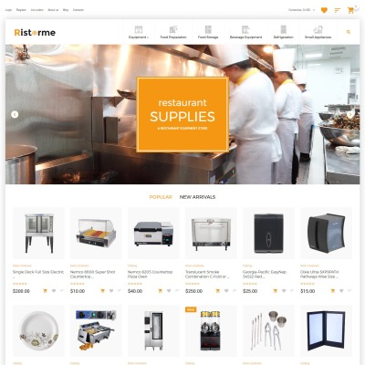 Restaurant Supplies VirtueMart Template #63373