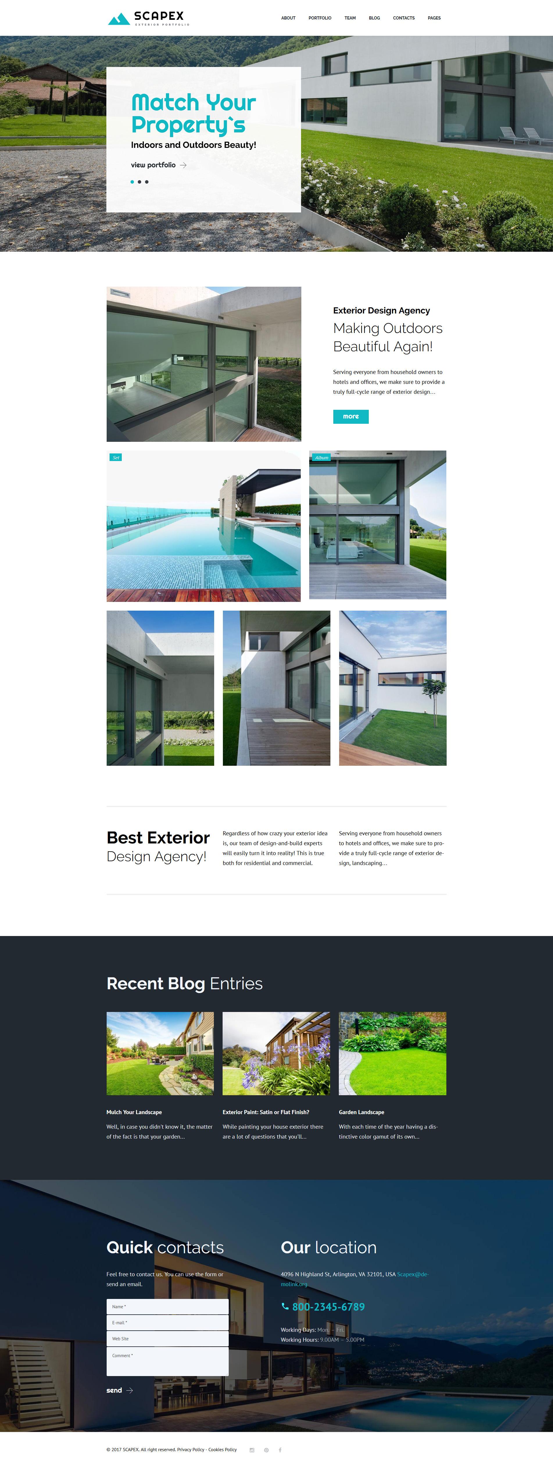 """Scapex - Exterior Designer Portfolio"" - адаптивний WordPress шаблон №63351"