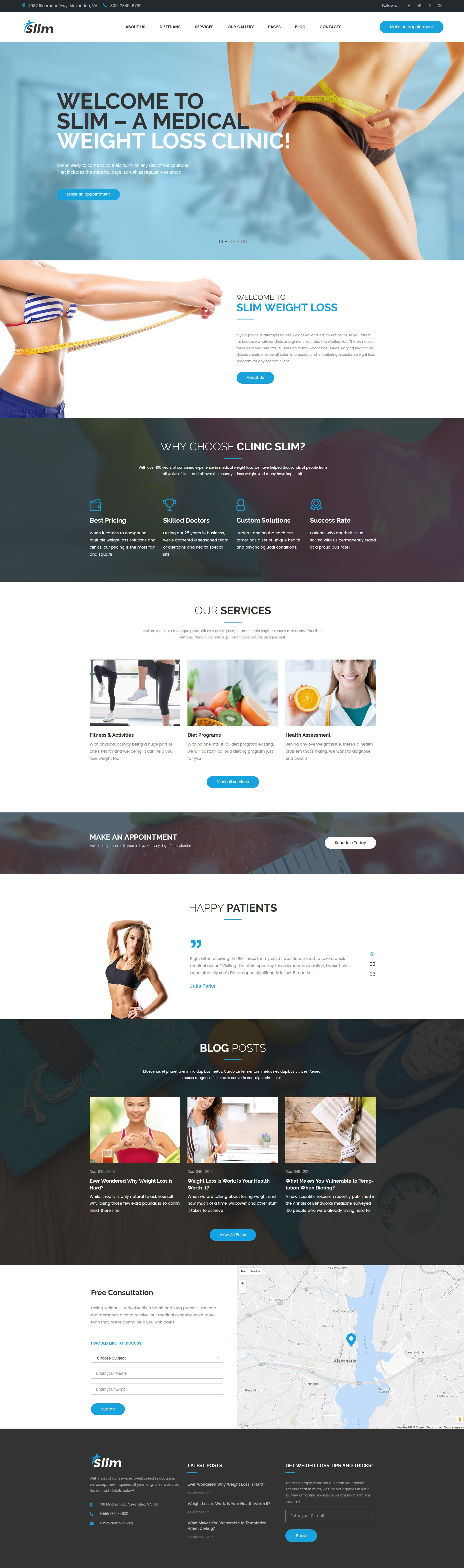 """Slim - Weight Loss & Fitness"" - адаптивний WordPress шаблон №63353"
