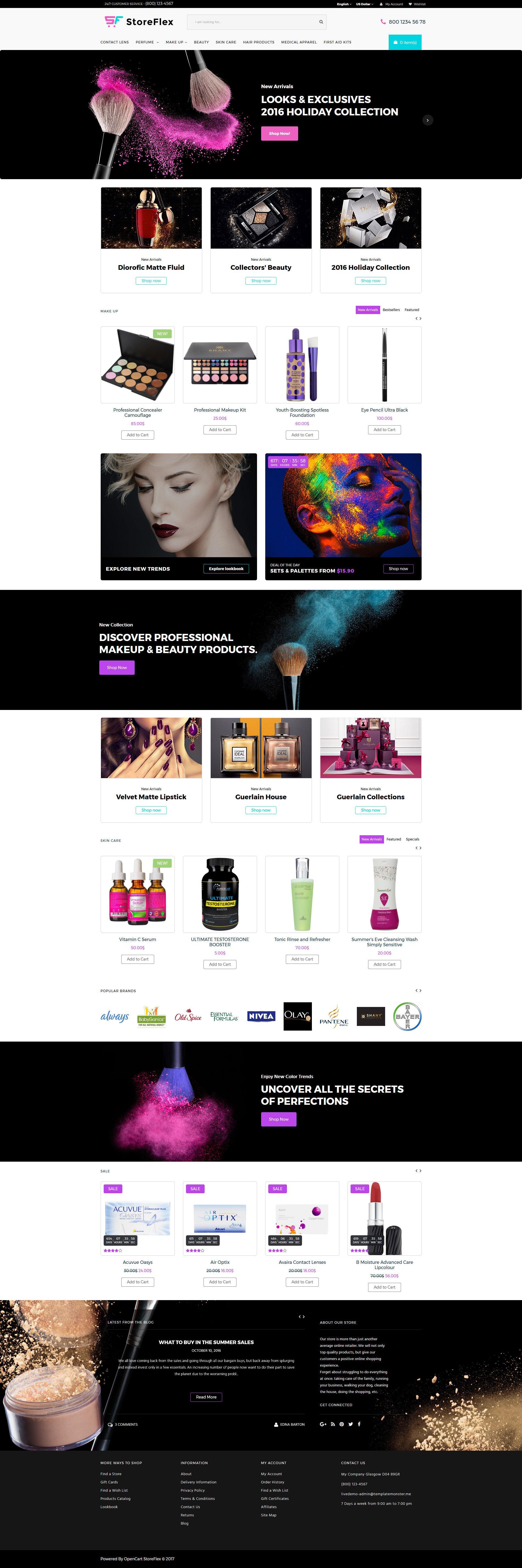 """StoreFlex - Cosmetics Store Responsive"" 响应式OpenCart模板 #63354"