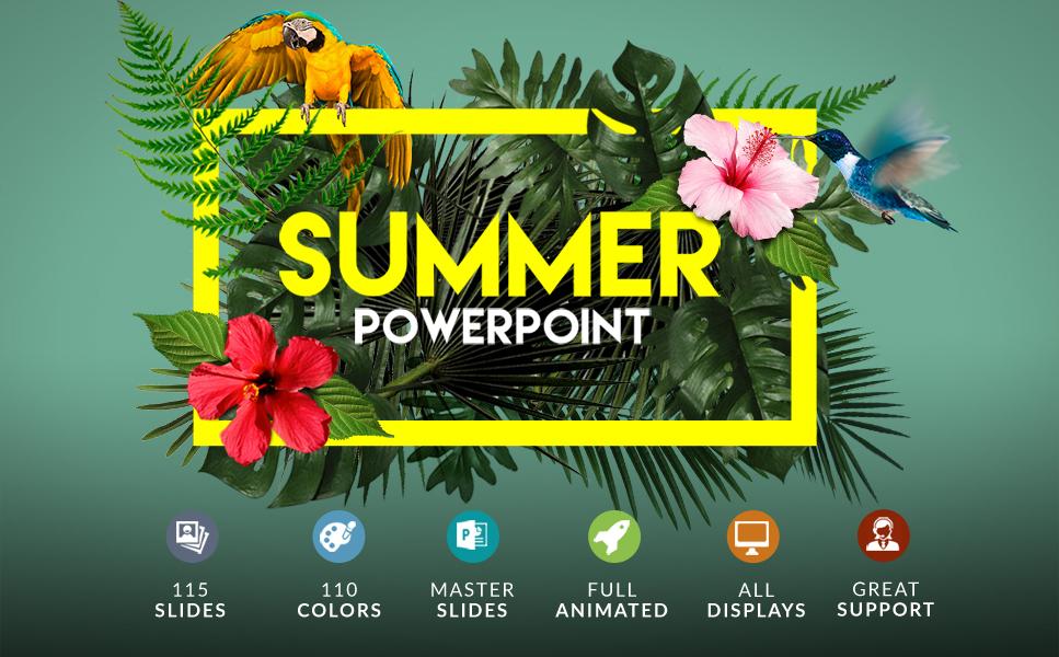Summer   Powerpoint + Bonus PowerPoint sablon 63396