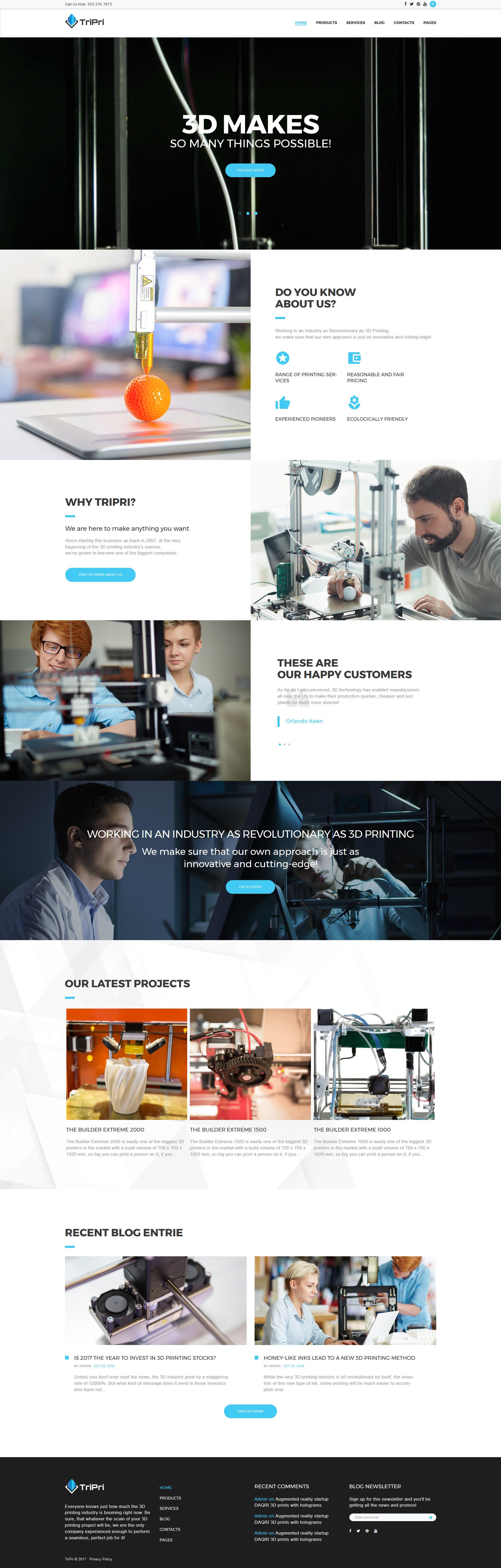 "Tema WordPress Responsive #63387 ""3D Printing Services"""
