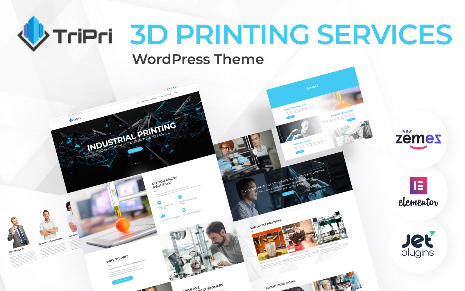 TriPri - WordPress-thema voor 3D-afdrukservices