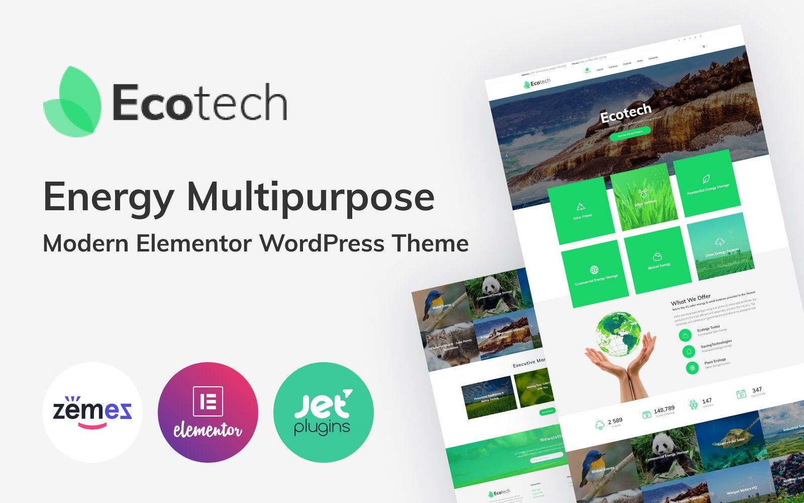 "WordPress Theme namens ""EcoTech - Environment Saving Technologies Elementor"" #63381"