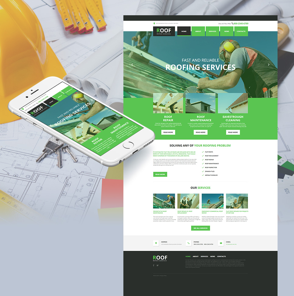 Roofing Company Moto CMS HTML Template - image