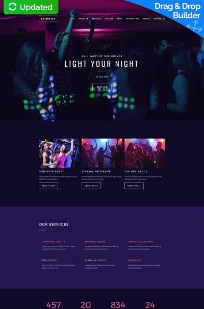 Natt klubb Responsivt Moto CMS 3-mall