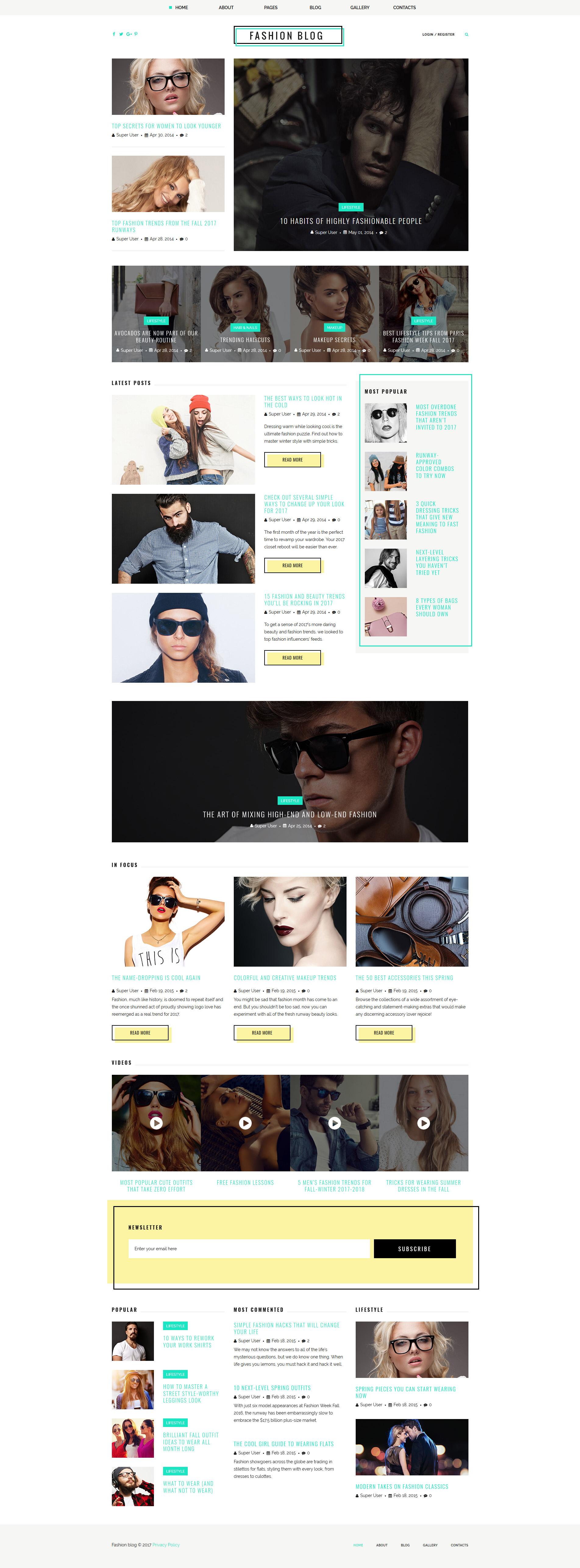 Адаптивный Joomla шаблон №63409 на тему блог о моде