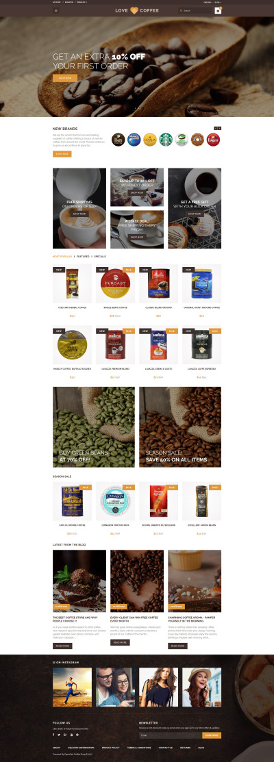 Адаптивный OpenCart шаблон №63413 на тему кофейня