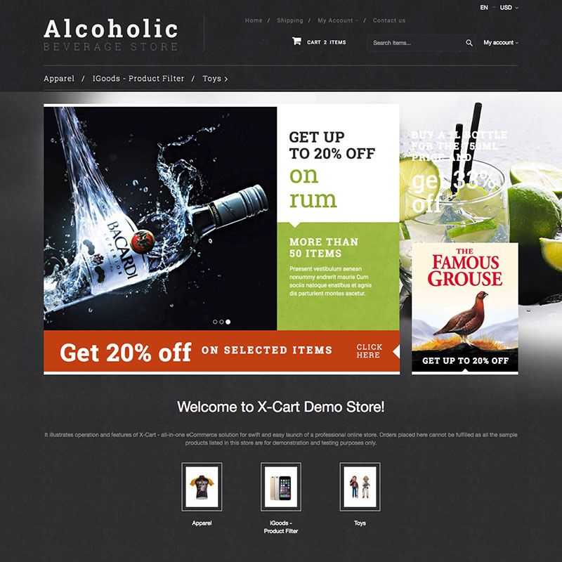 """Alcoholic beverage"" X-Cart Template №63404"