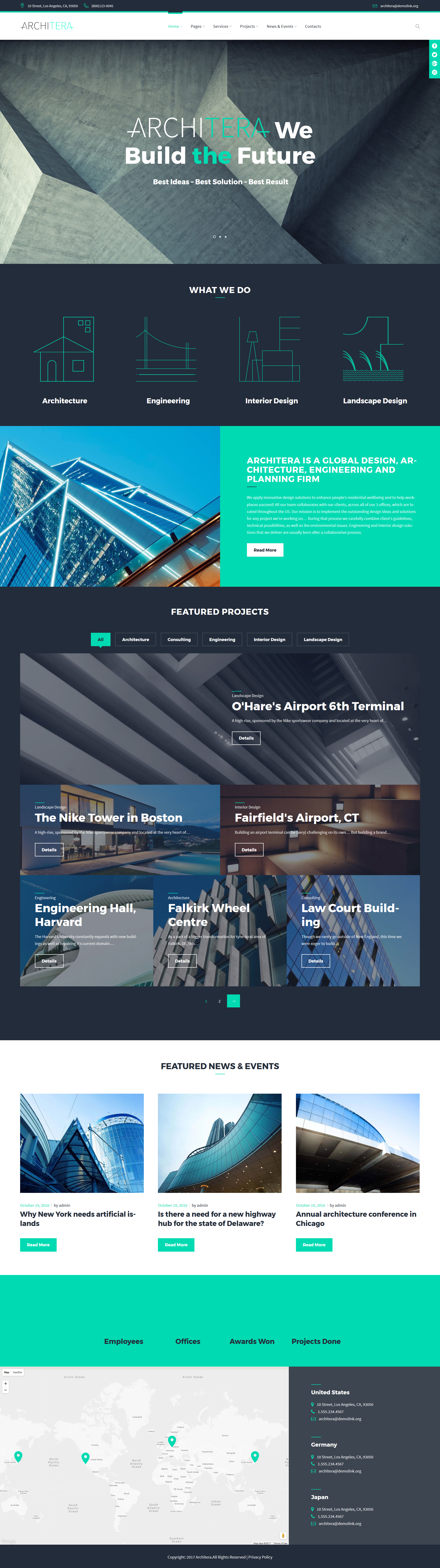 """Architera - Architecture Firm Responsive"" 响应式WordPress模板 #63498"