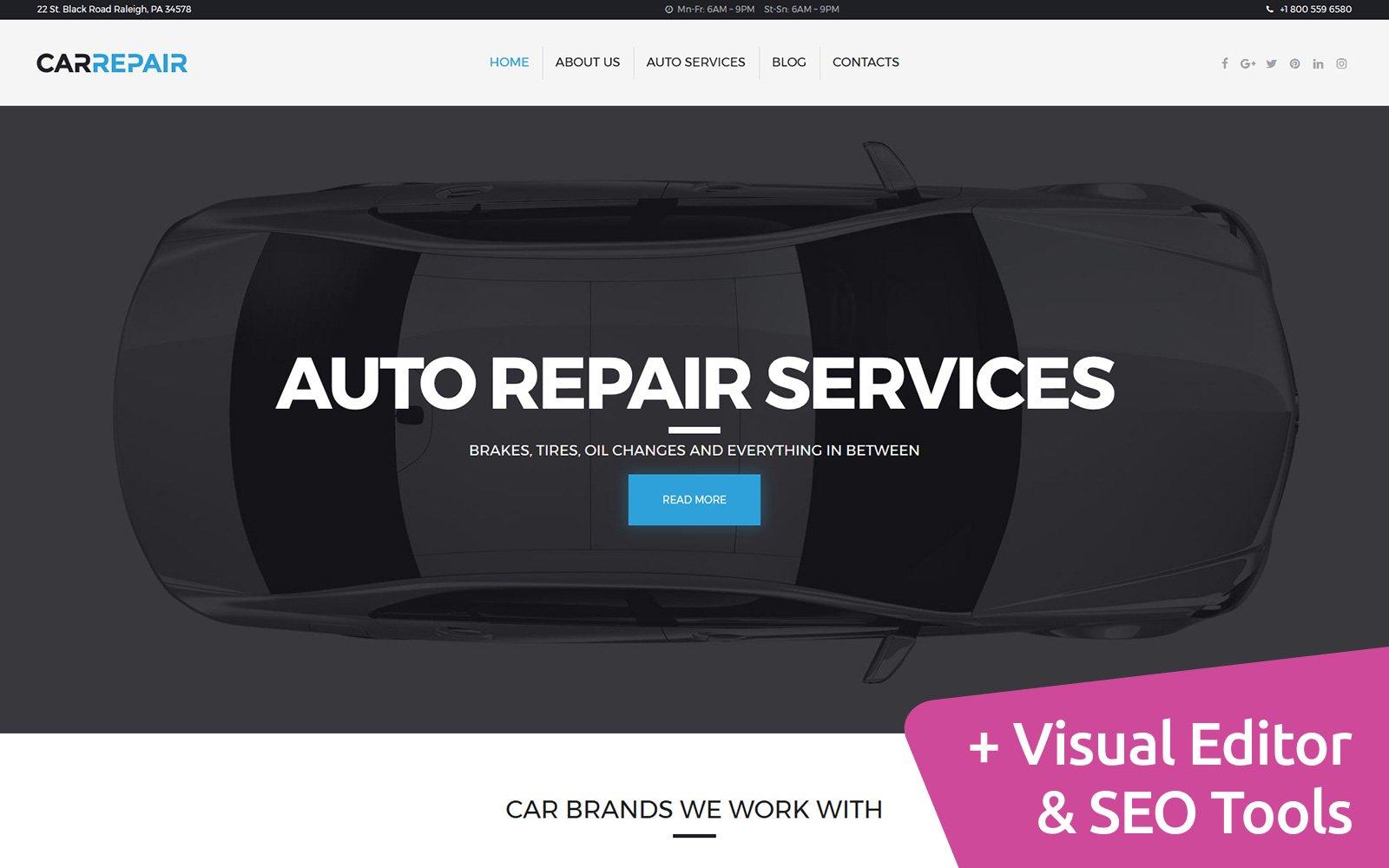 """""""Auto Repair"""" 响应式Moto CMS 3 模板 #63484"""