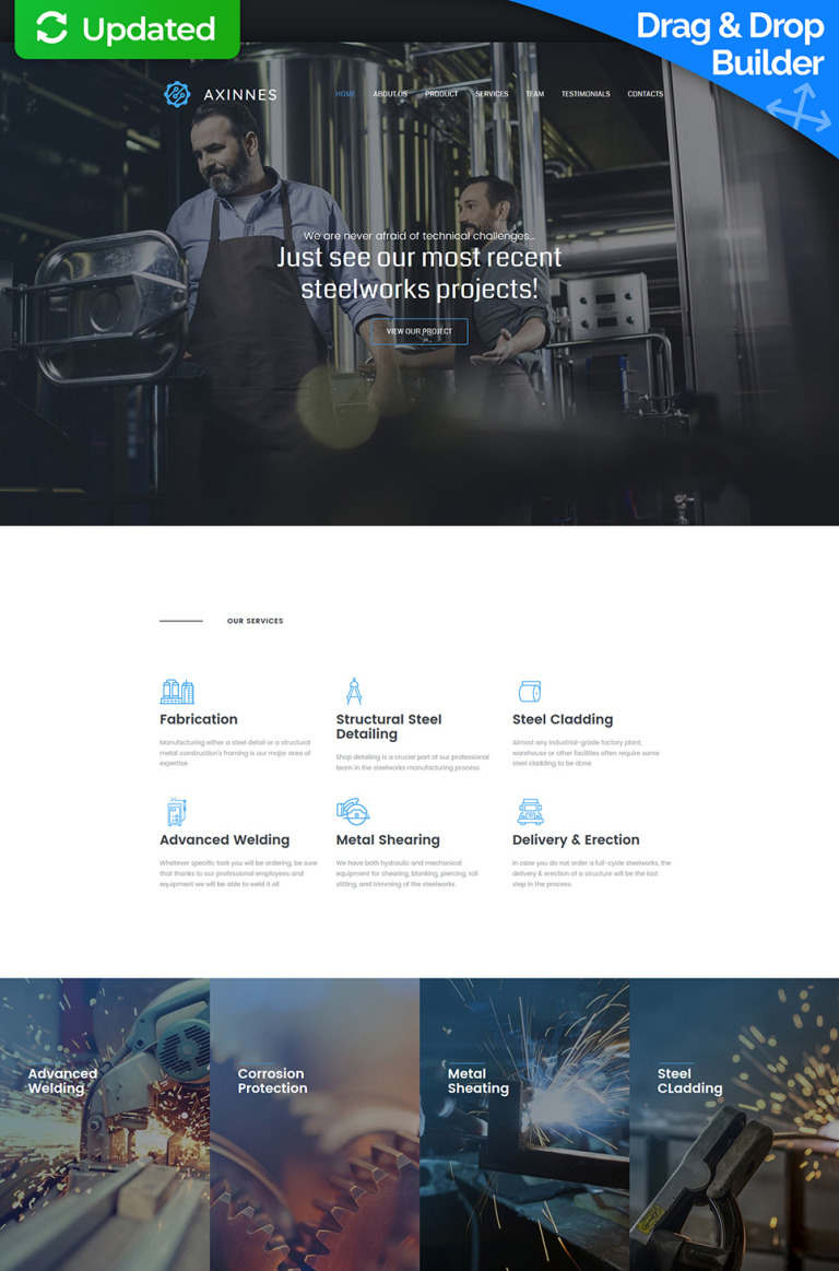 Axinnes - Steel Industrial Moto CMS 3 Template New Screenshots BIG