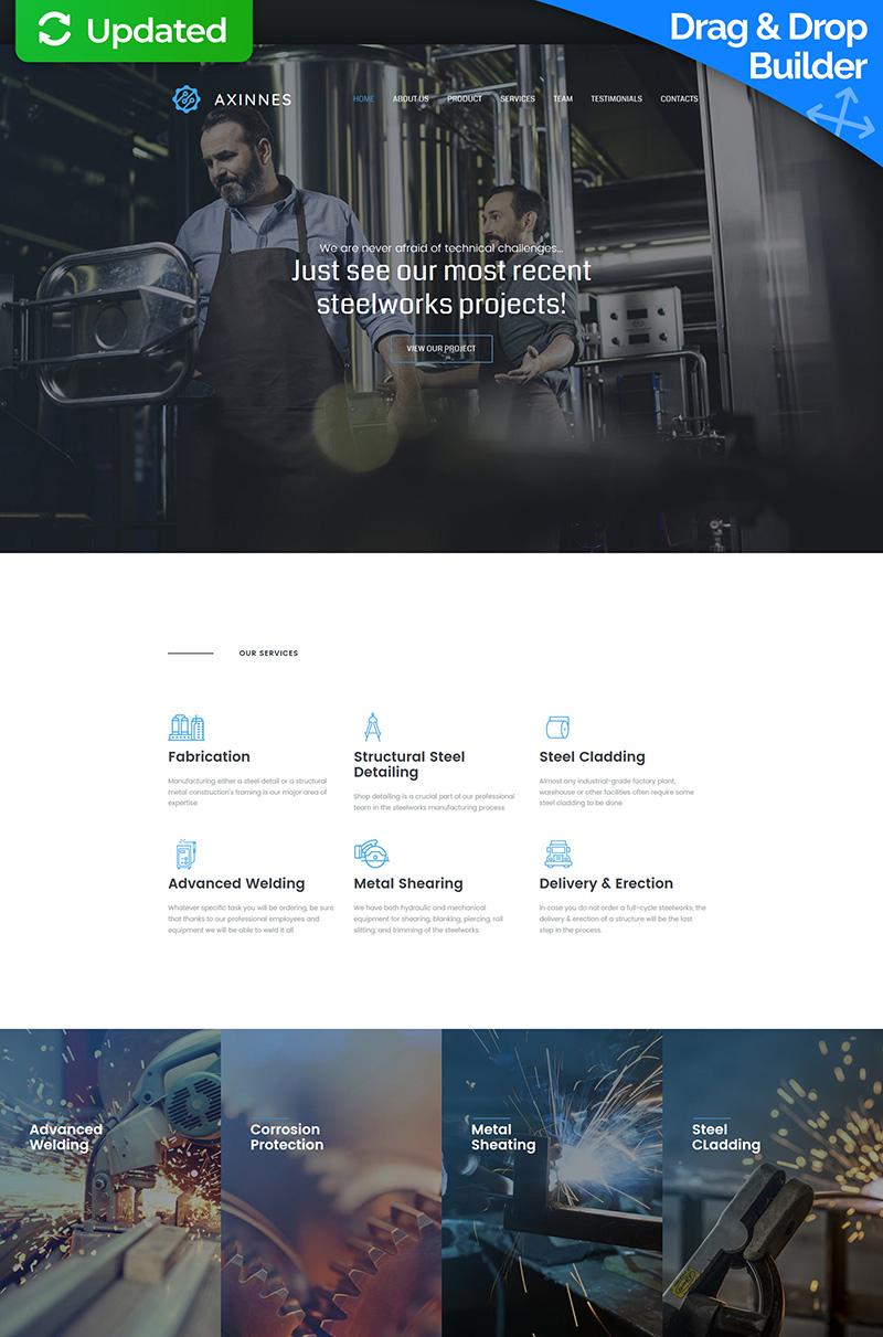 """Axinnes - Steel Industrial Premium"" Responsive Moto CMS 3 Template №63471"