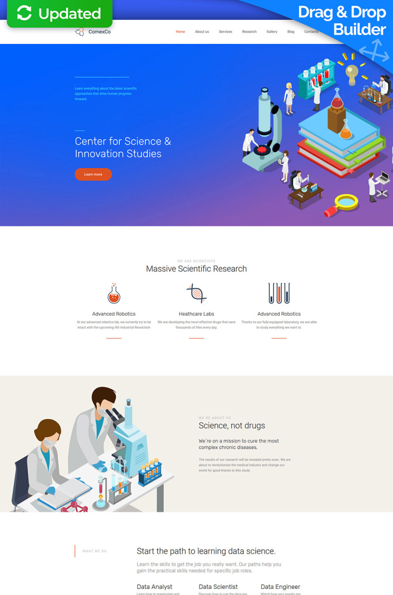 Comex Co - Science Lab Premium Moto CMS 3 Template New Screenshots BIG