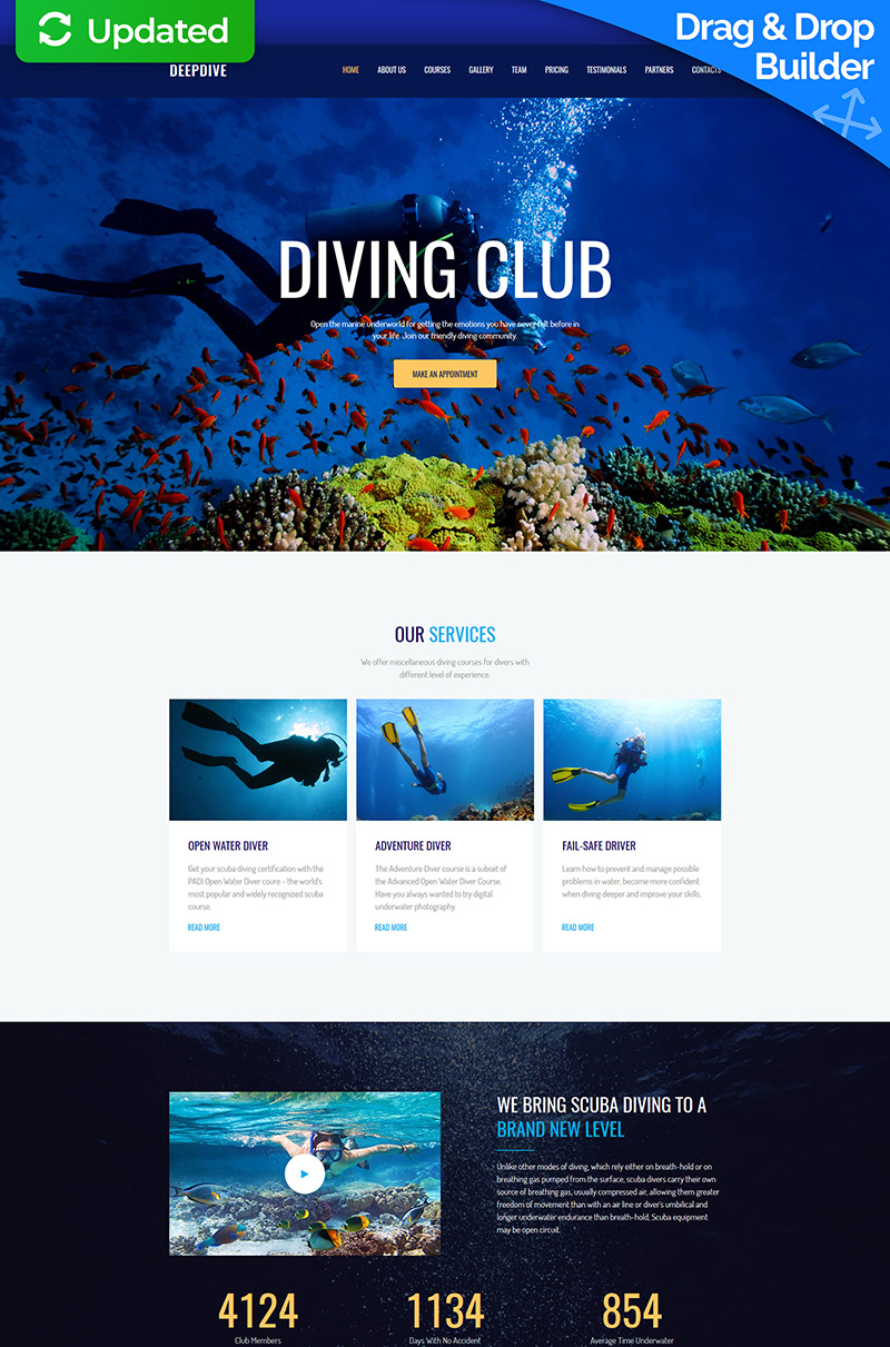 """Deepdive - Sports & Outdoors & Diving"" Responsive Moto CMS 3 Template №63474"
