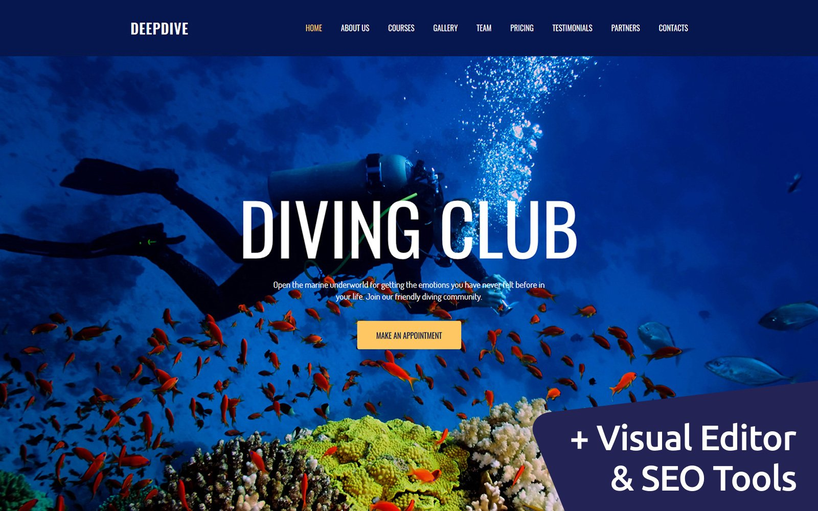 """Deepdive - Sports & Outdoors & Diving"" - адаптивний MotoCMS 3 шаблон №63474"