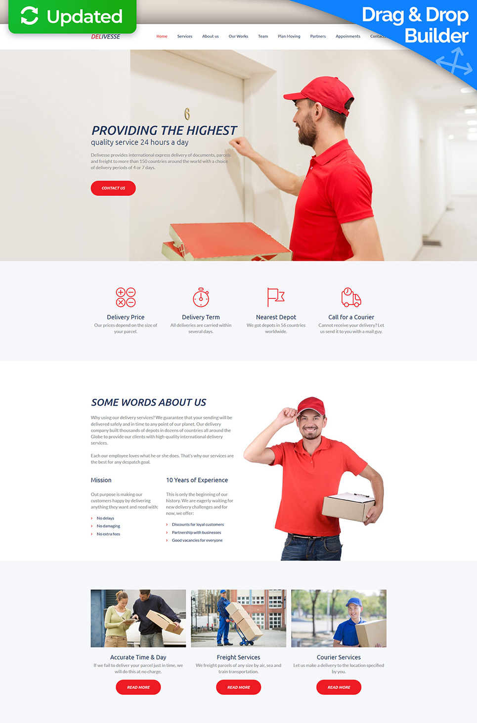 Delivesse - Delivery Services Premium Moto CMS 3 Template #63475