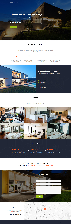 """Estadoz - Real Estate Agency"" Responsive WordPress thema №63407"