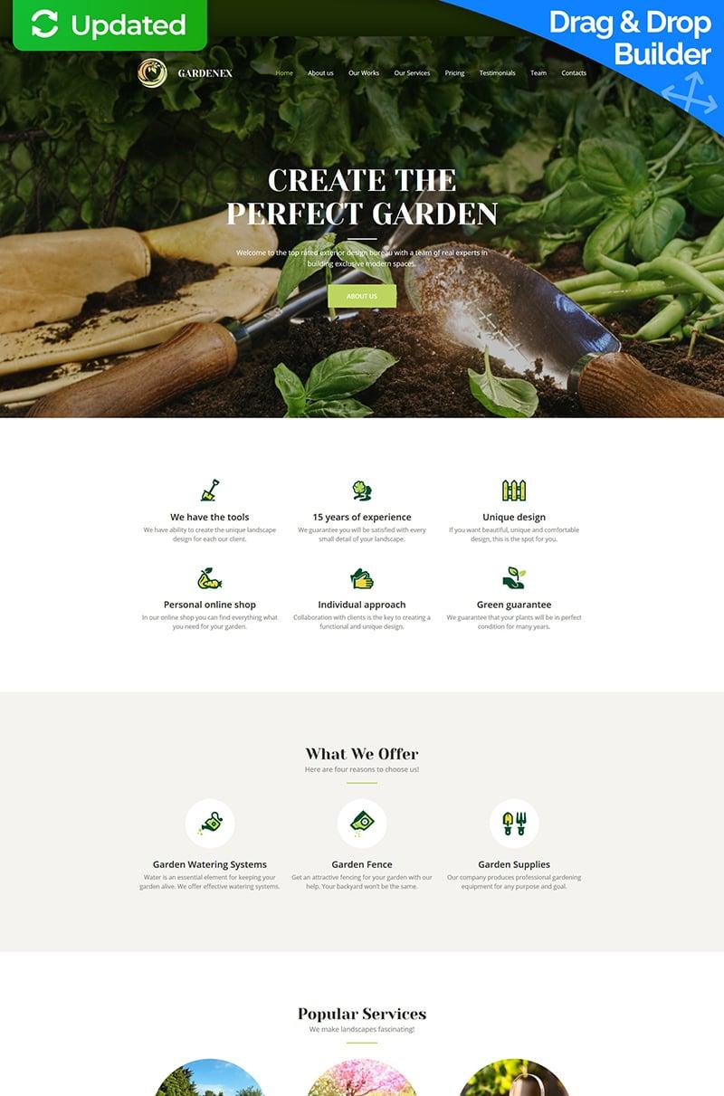 """Gardenex - Premium"" Responsive Moto CMS 3 Template №63466"
