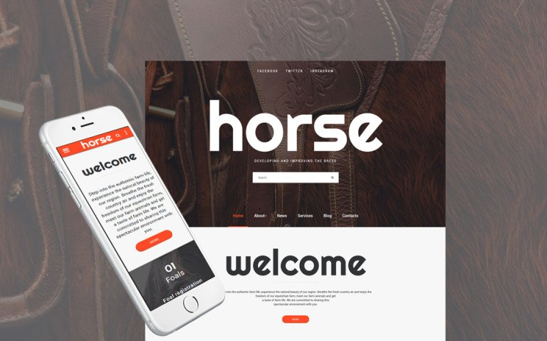 Horse - Horse Farm Animals Website Template New Screenshots BIG