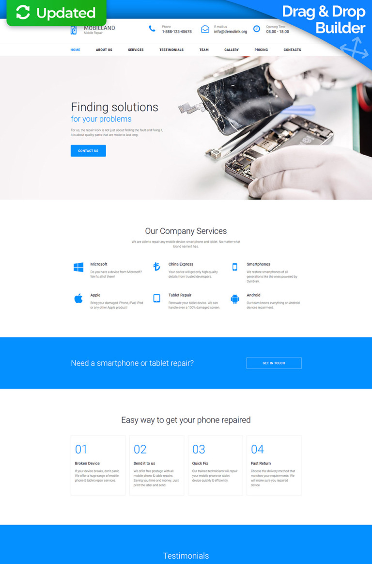 Mobilland - Mobile Repair Services Moto CMS 3 Template New Screenshots BIG
