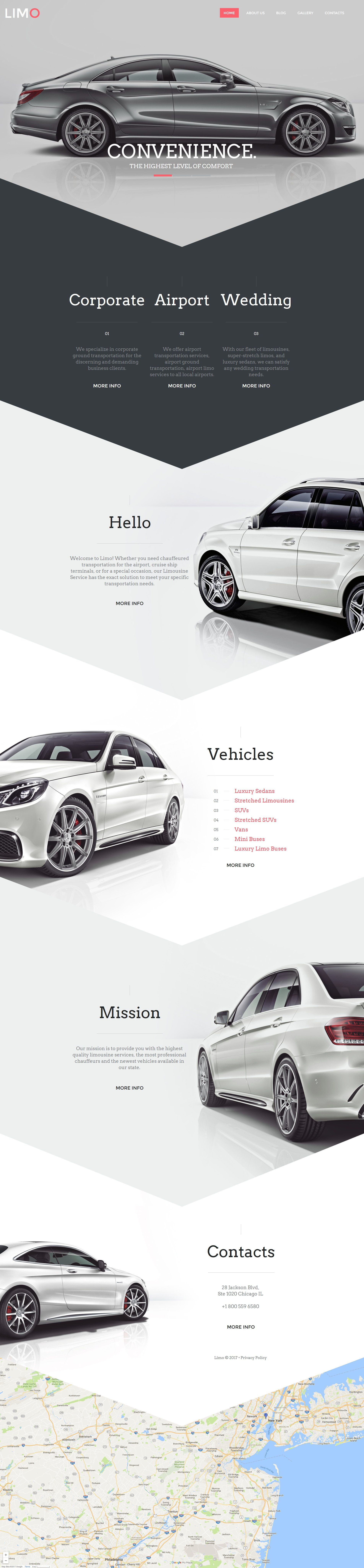 Modèle HTML de Limousine Services Moto CMS