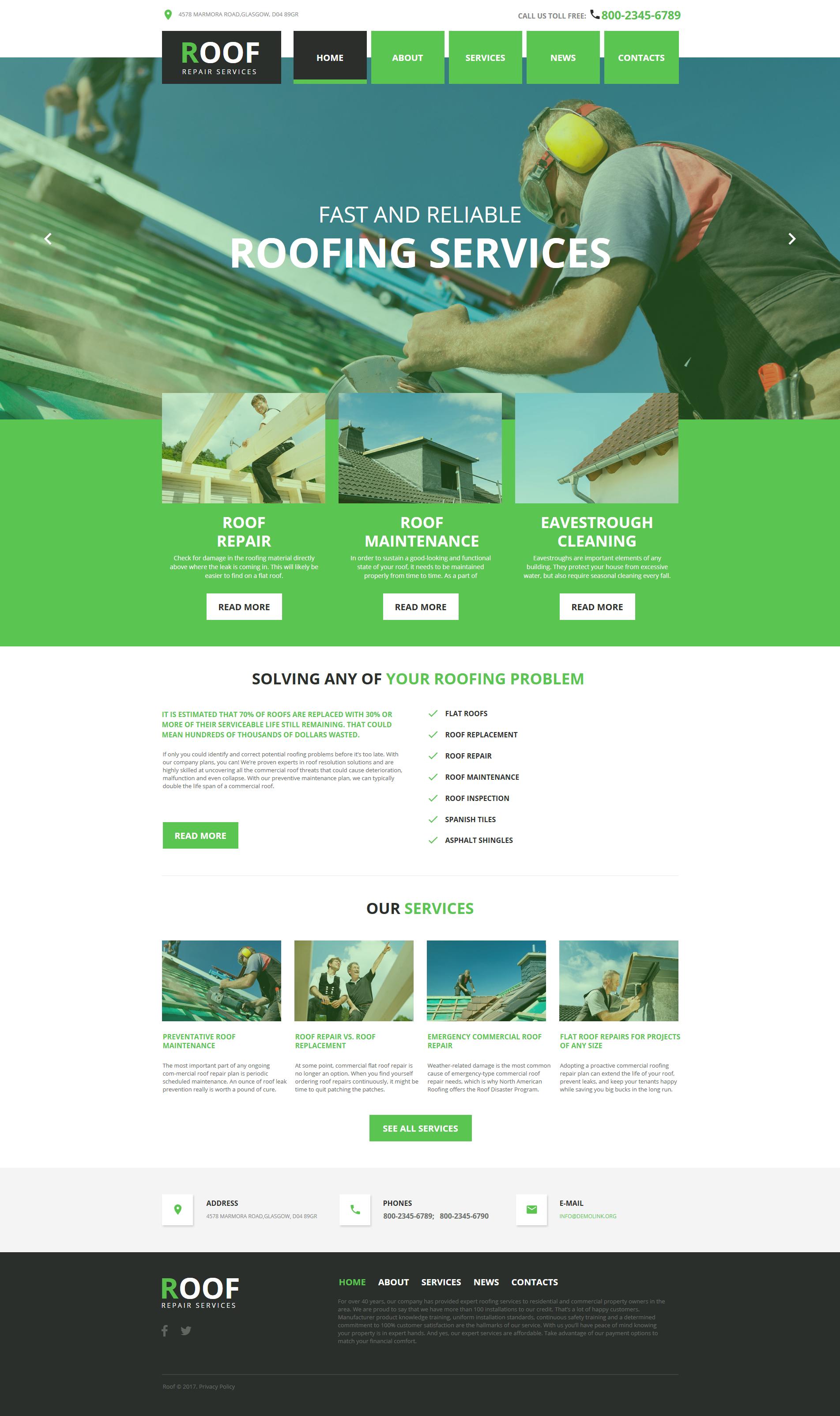 Modèle HTML de Roofing Company Moto CMS