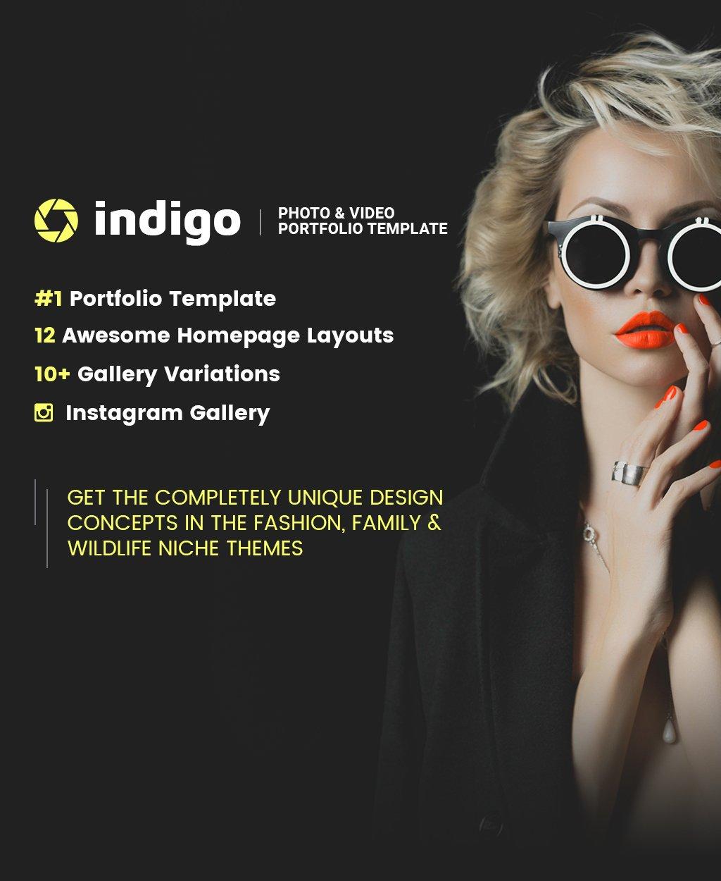 "Modello Siti Web Responsive #63434 ""Indigo - Photo & Video Portfolio Multipurpose HTML"""