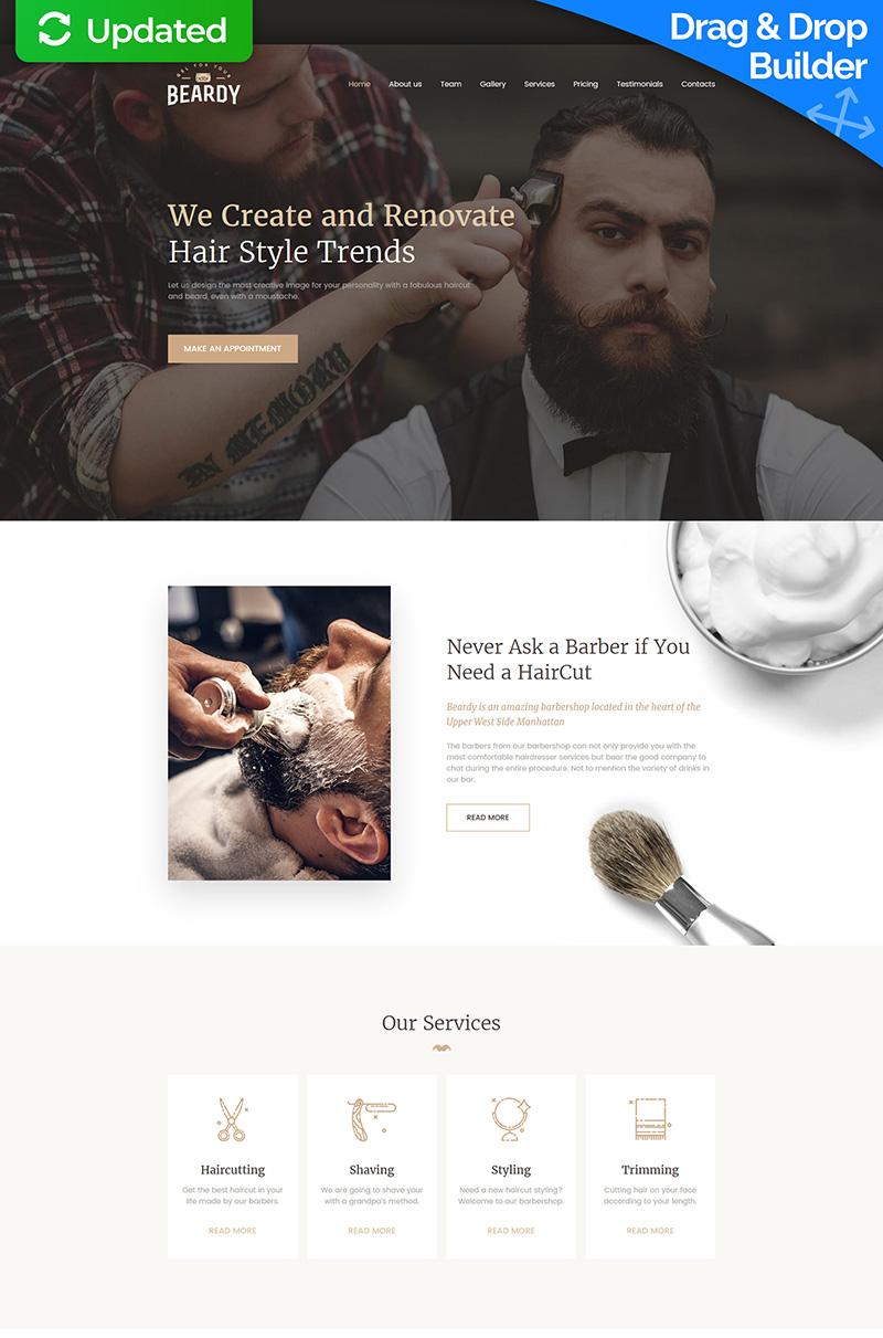 "Moto CMS 3 Template namens ""Beardy - Hair Care & Hair Styling"" #63476"
