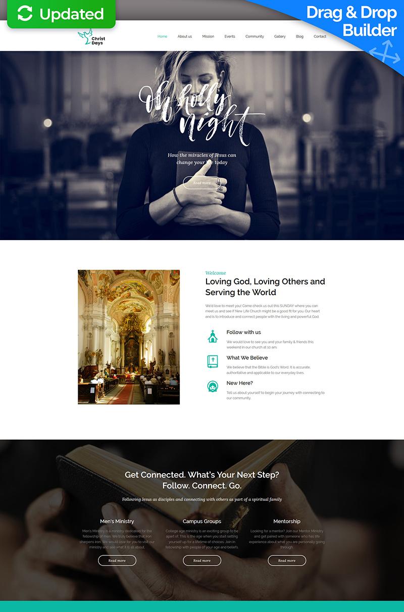 """Moto CMS 3 Template namens """"Christ Days - Religious Premium"""" #63456"""