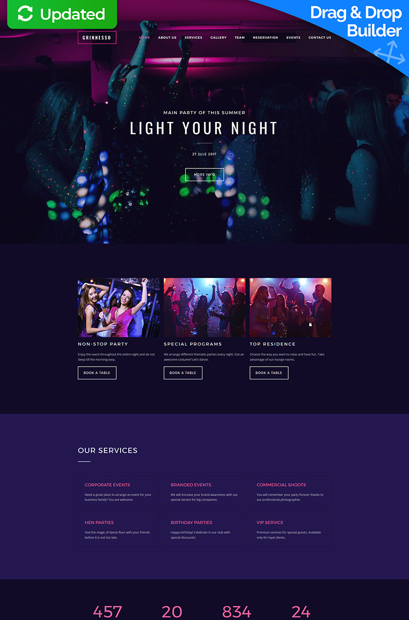 "Moto CMS 3 Template namens ""Grinnesso - Night Club Premium"" #63477"