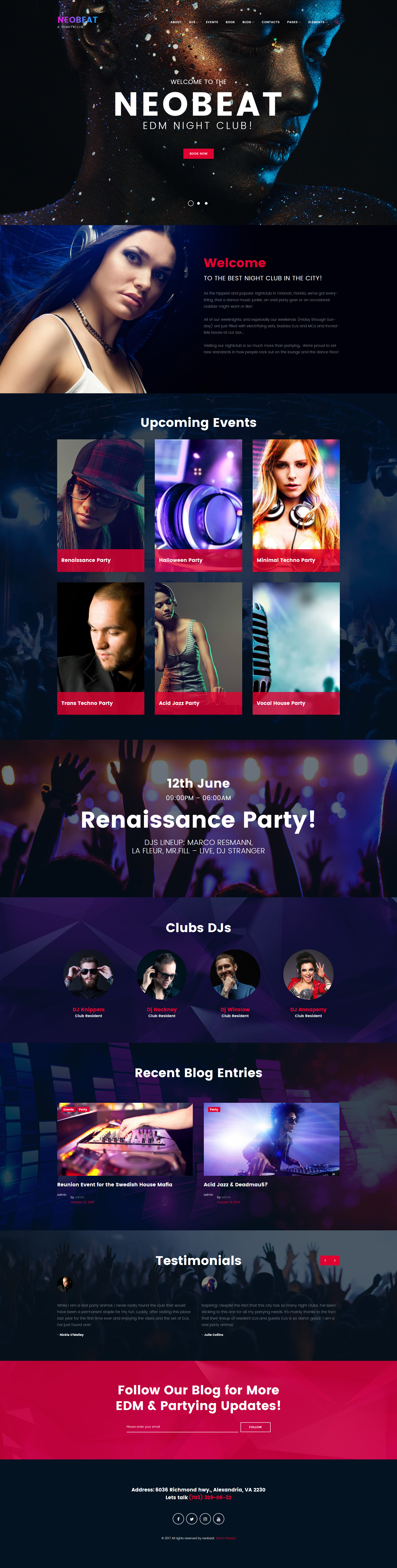 """Neobeat - Night Club & Entertainment"" 响应式WordPress模板 #63497"