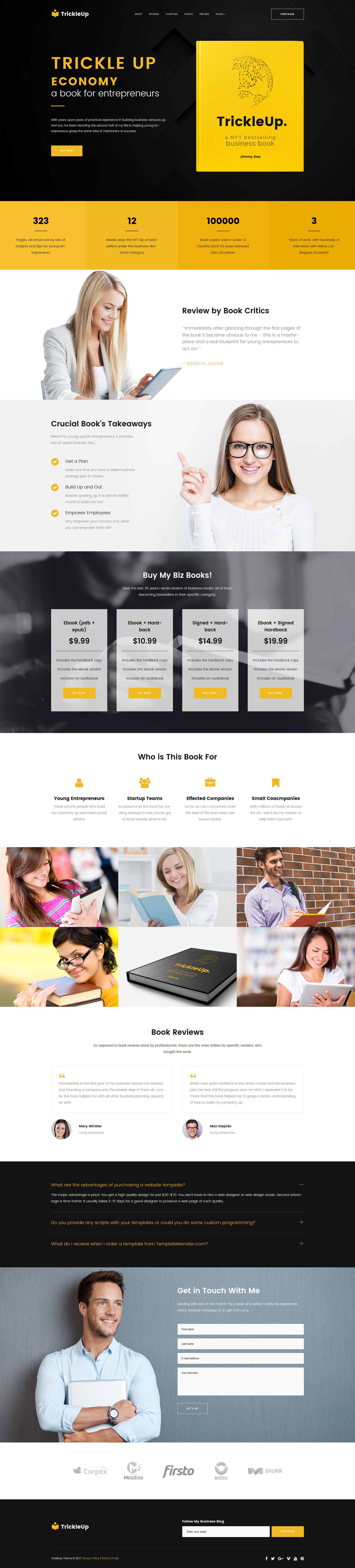 One Page E-book Landing WordPress Theme