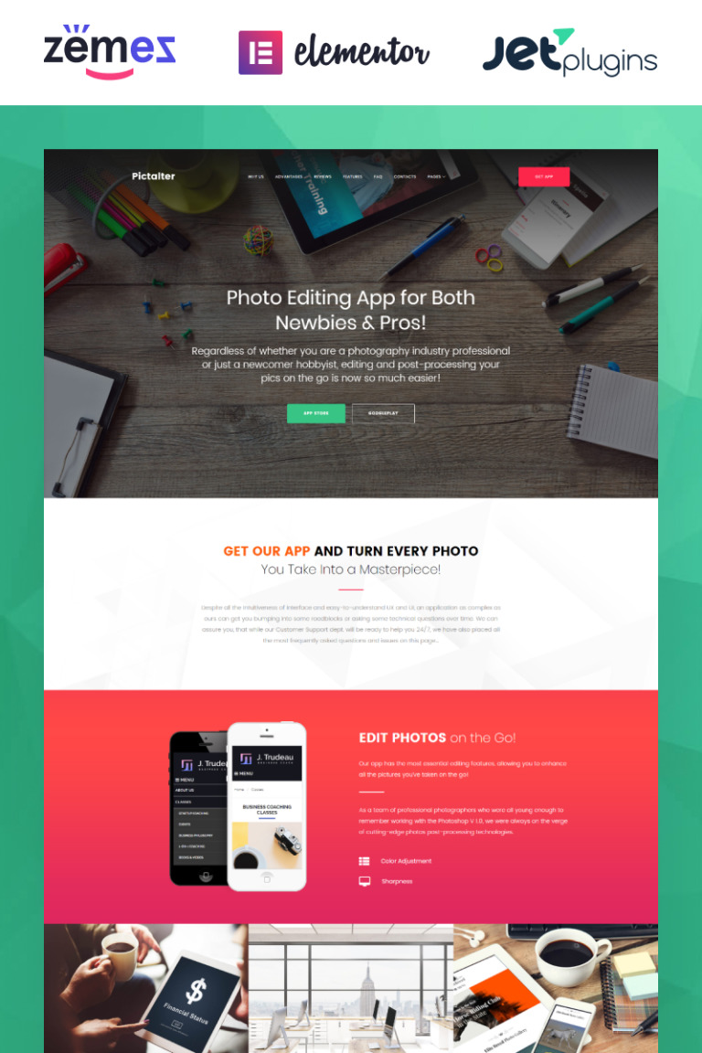 Photo Editing Application WordPress Theme New Screenshots BIG