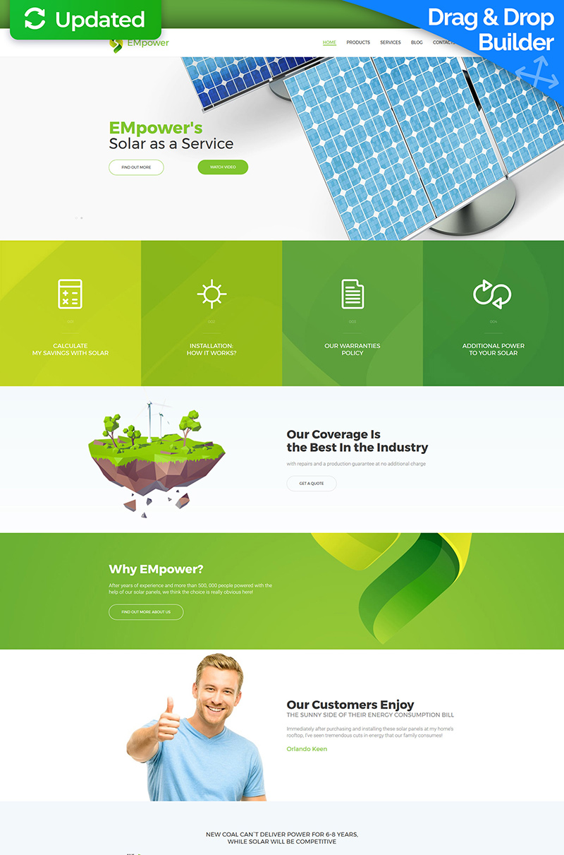 Plantilla Moto CMS 3 Responsive para Sitio de Energía solar #63485