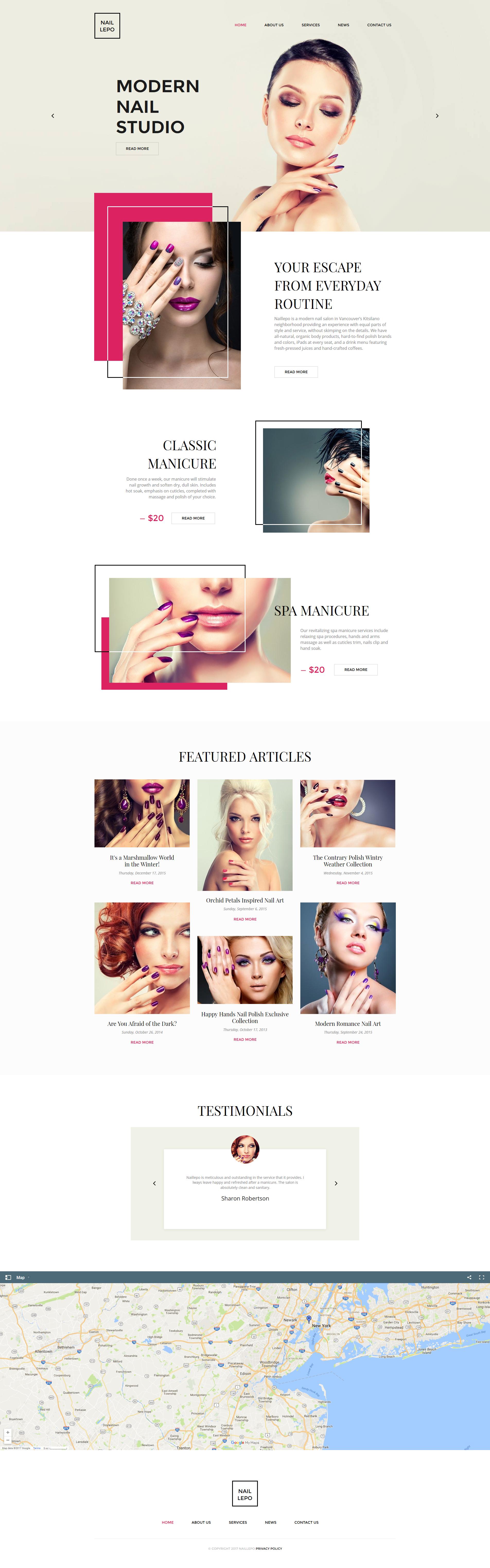 Plantilla Moto CMS HTML #63446 para Sitio de Salones de manicura