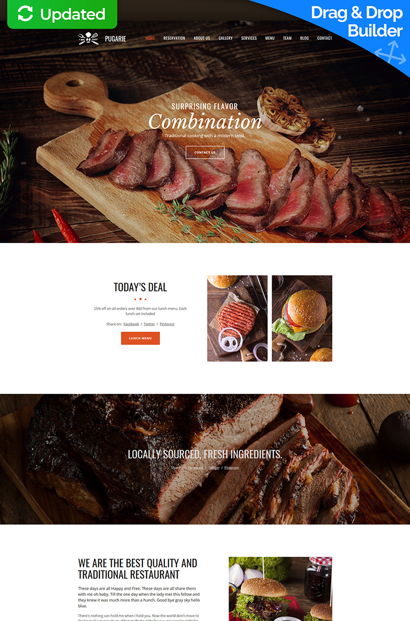 """Pugarie"" Responsive Moto CMS 3 Template №63451"