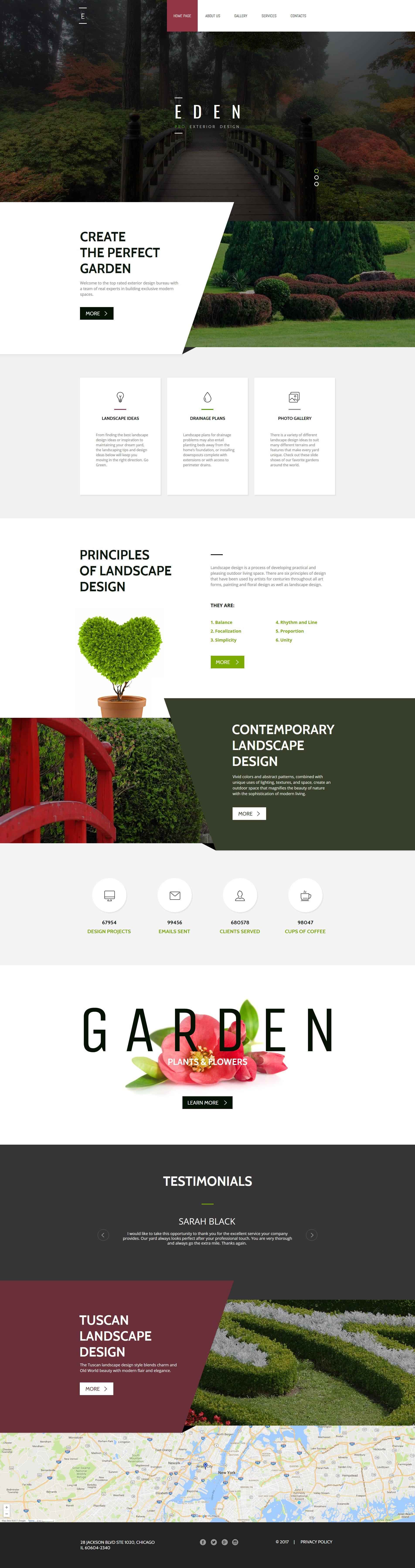 Responsive Moto CMS HTML Vorlage für Gartendesign #63447