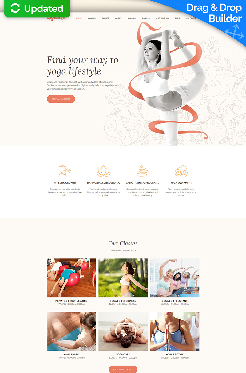Responsive Yoganati - Premium Moto Cms 3 #63457