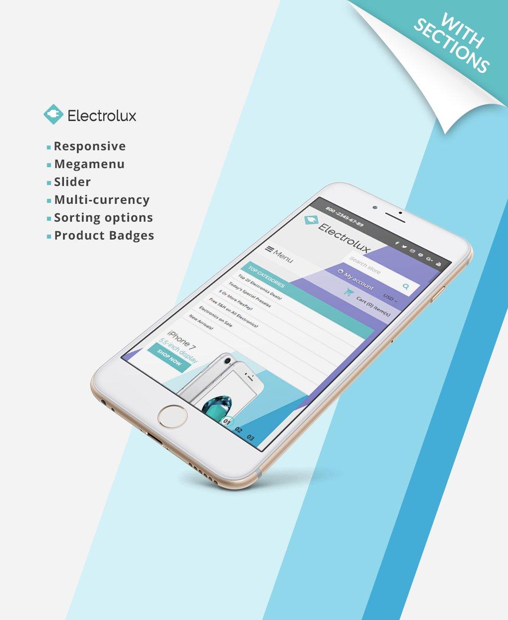Responsivt Electrolux - Electronics Store Responsive Shopify-tema #63429