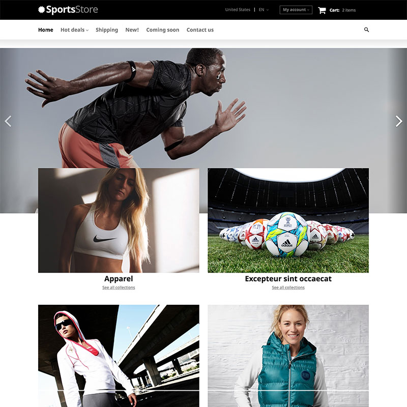 Responsivt Sports Clothes Equipment X-Cart Template #63431