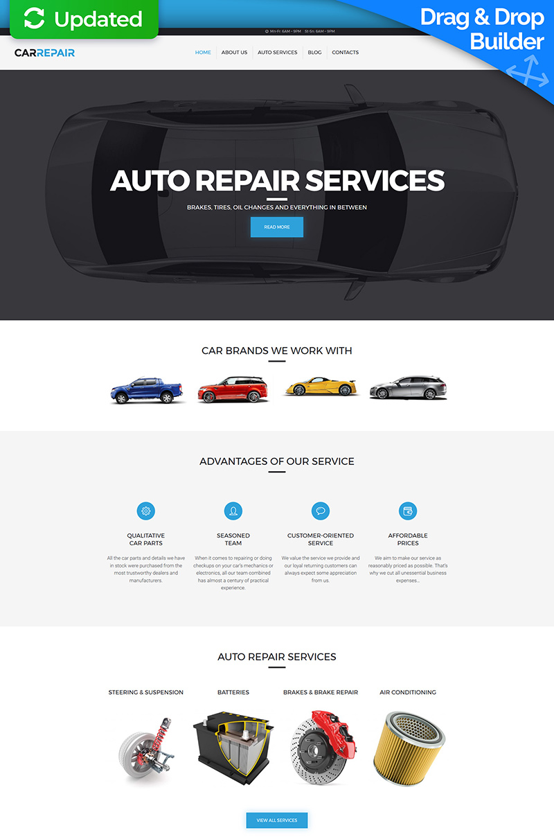 Responsywny szablon Moto CMS 3 #63484 na temat: naprawa samochodów - zrzut ekranu