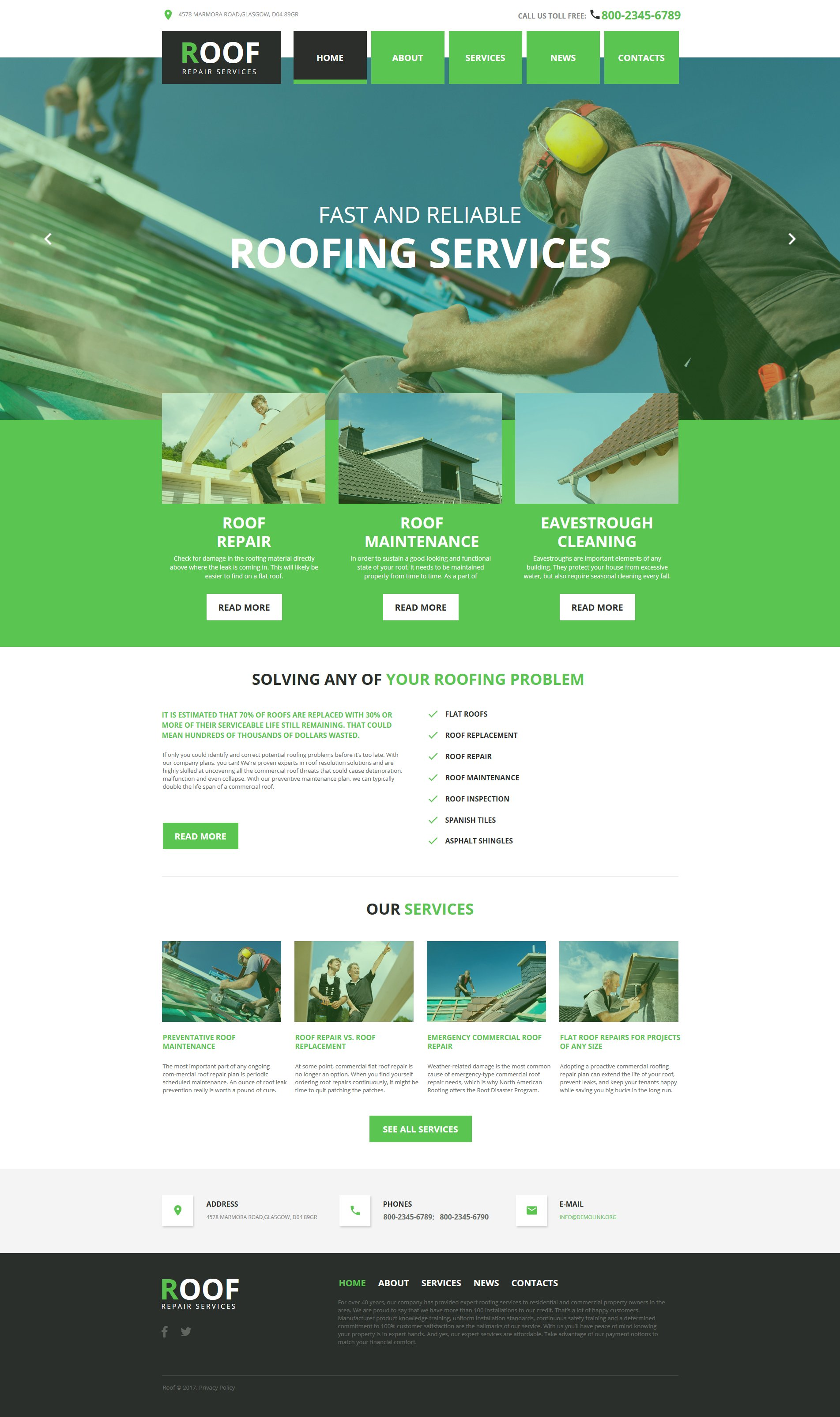 Roofing Company Moto Cms Html Template 63440