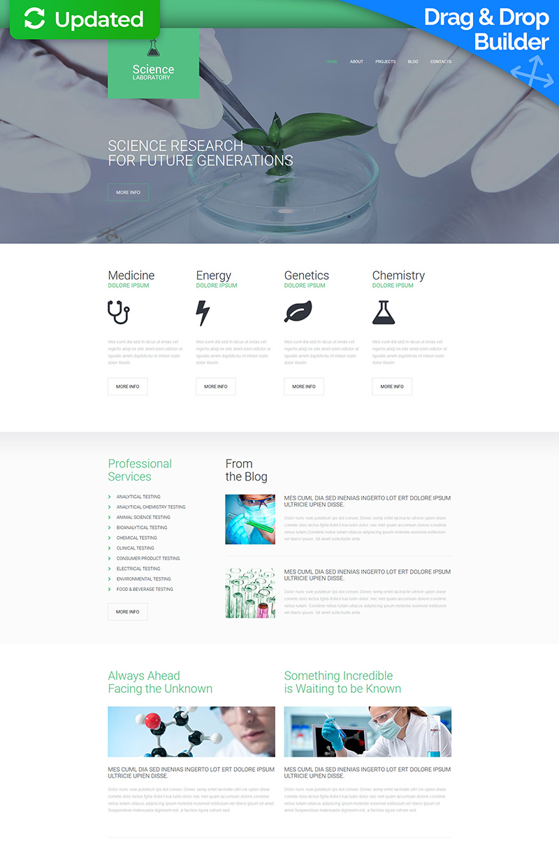 Science Lab Responsive Moto CMS 3 Template