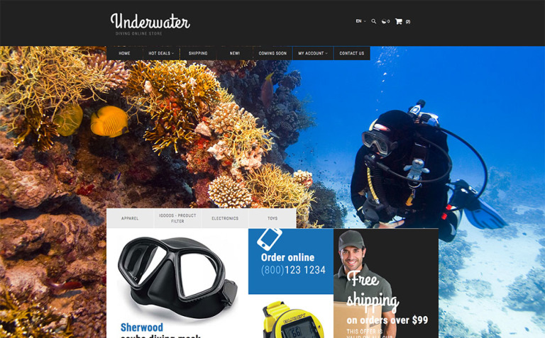 Scuba Diving X-Cart Template New Screenshots BIG